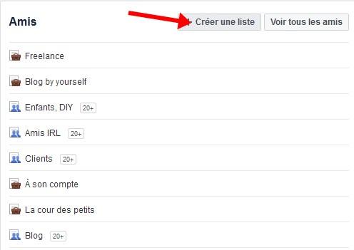 Facebook creer liste amis