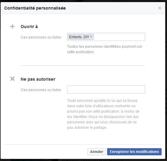 Facebook partage personnalise