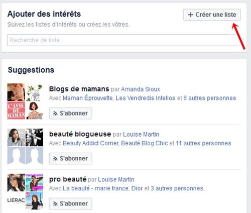 Facebook creer liste interet