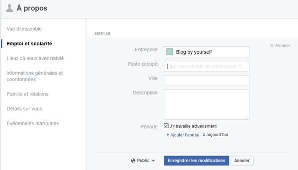 Facebook a propos emploi