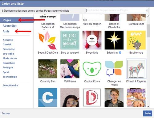 Facebok choix page interet