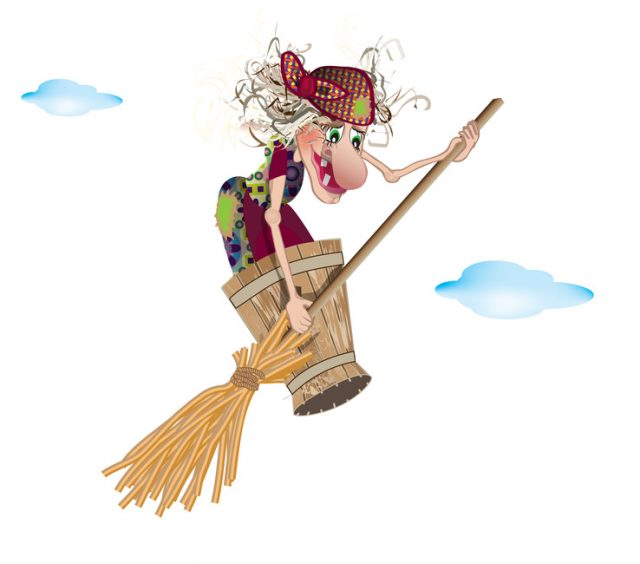 The witch flies in a mortar with a broom