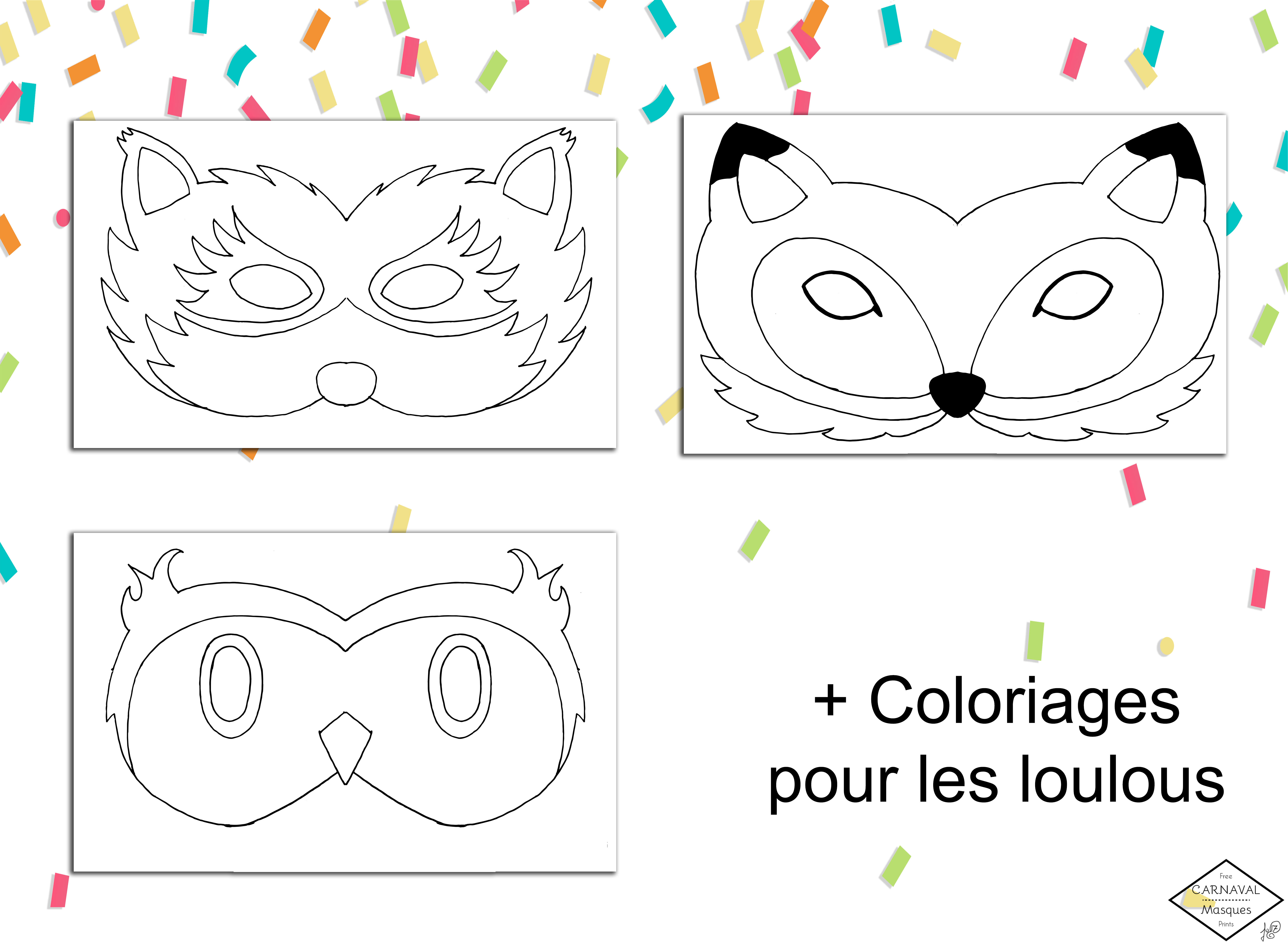 coloriage masque animaux carnaval