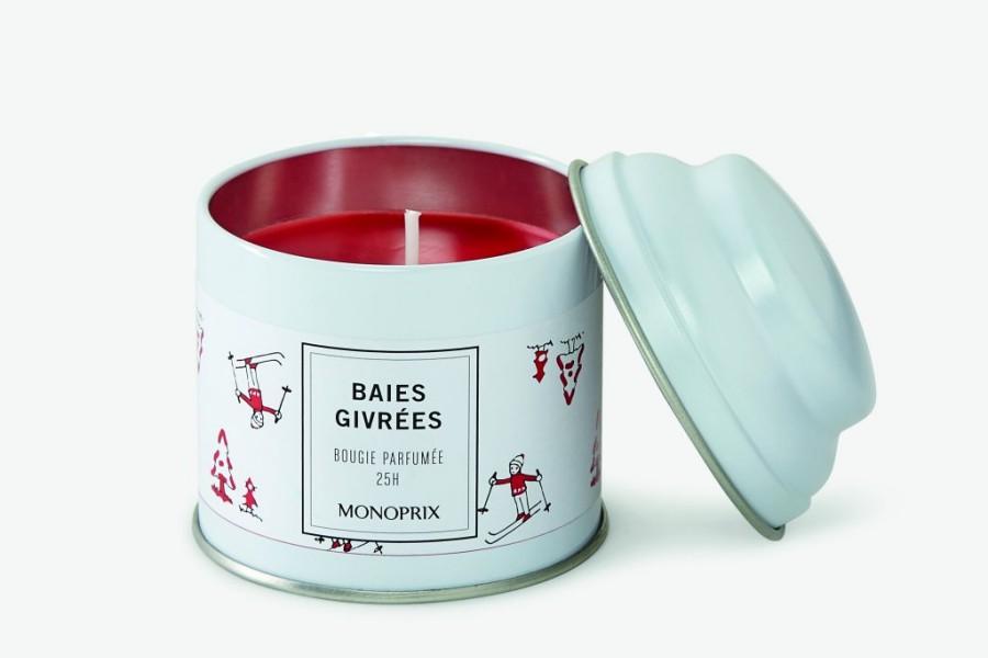 Bougie parfumée aux baies givrées, collection de Noël de chez Monoprix