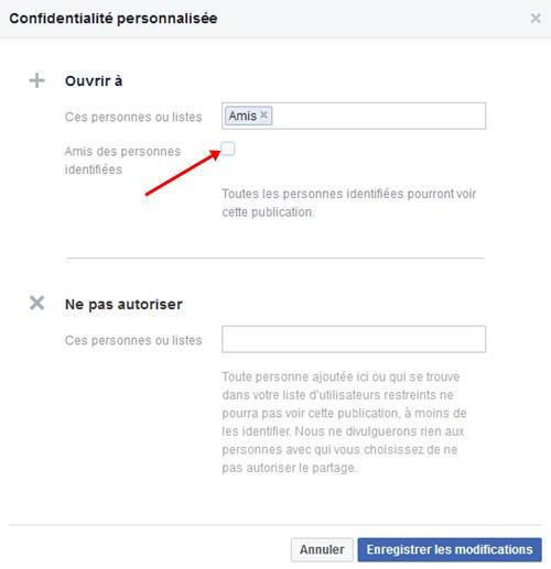 Facebook amis personnes identifiees