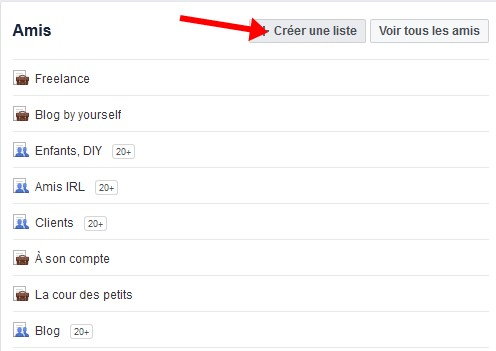 Facebook creer liste amis