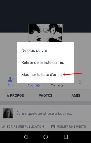 Facebook modifier amis mobile