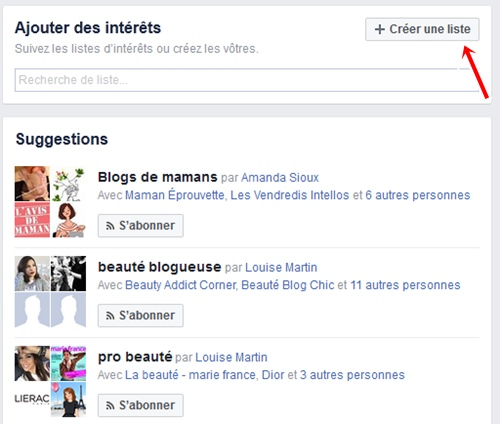Facebook creer liste interet