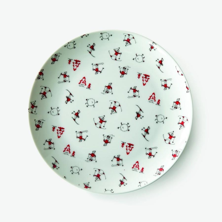Assiette en porcelaine avec des skieurs, collection de Noël de Monoprix