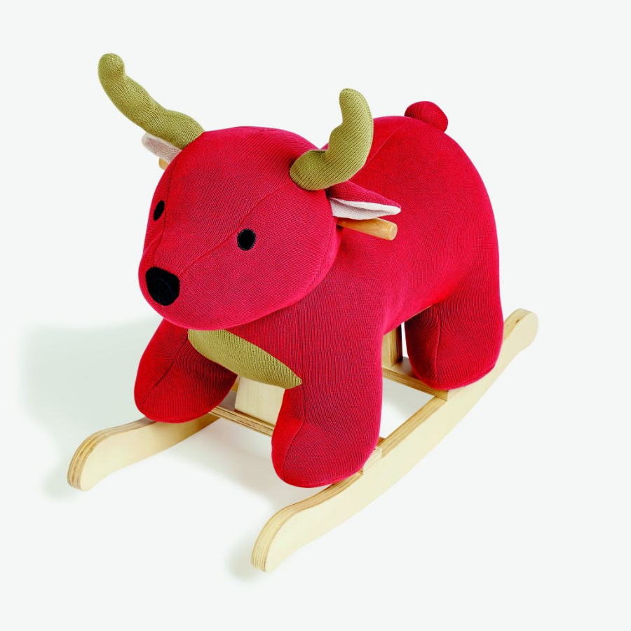 Cerf à bascule rouge, collection de Noël de chez Monoprix