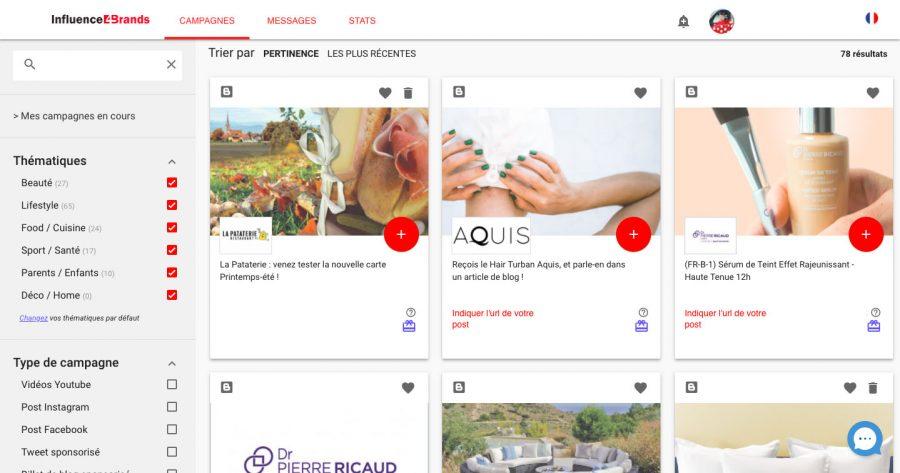 Page d'accueil de la plateforme de monétisation des réseaux sociaux : Influence4Brands