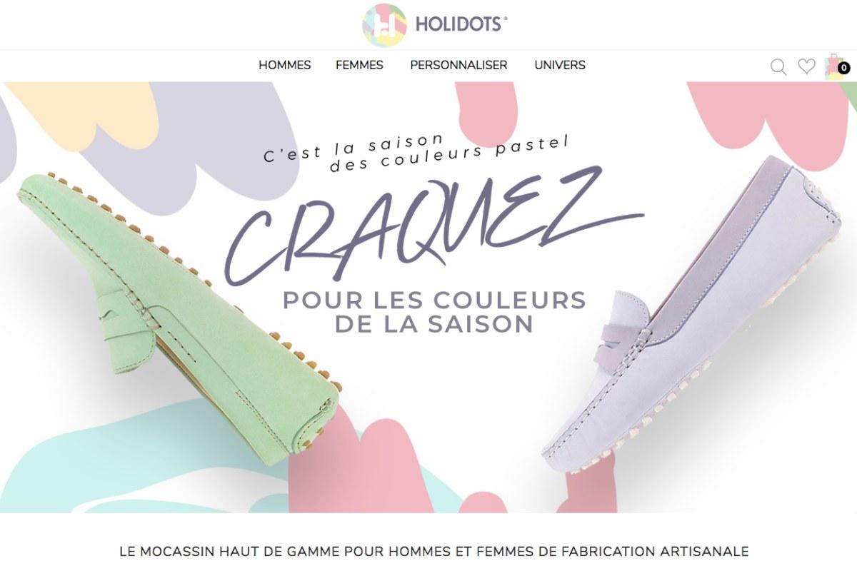 Screen du site internet de Holidots, les mocassins