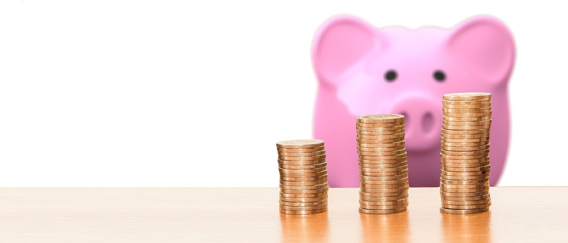 Epargner de l'argent, avec l'image du petit cochon rose